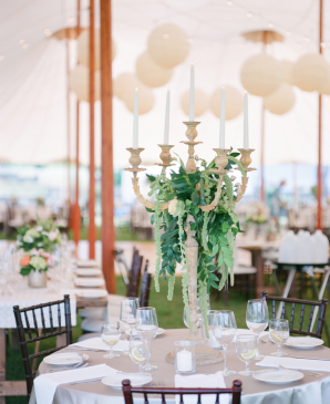 Taper Candle Centerpiece with Greenery