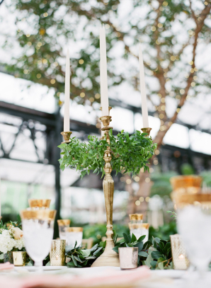 Taper Candle and Greenery Candelabra
