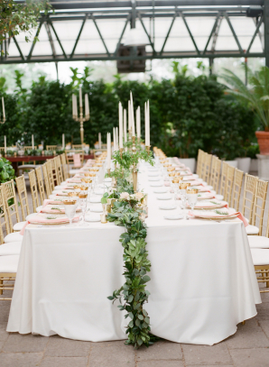 Taper Candle and Greenery Garland Centerpiece