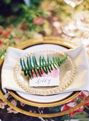 Watercolor and Fern Place Setting