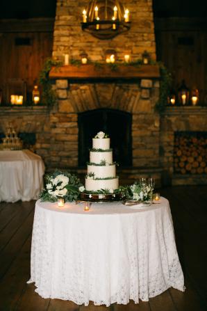 Wedding Cake with Greenery on Layers