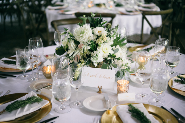 White and Green Wedding Centerpiece