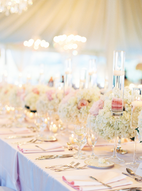 Blush Hydrangea and Rose Centerpiece