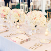 Blush and White Rose Centerpiece