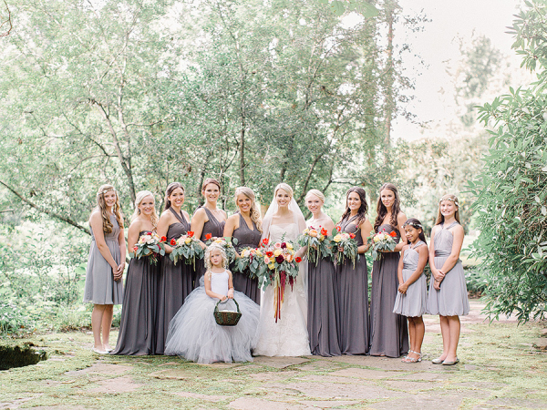 Bridal Party in Shades of Purple
