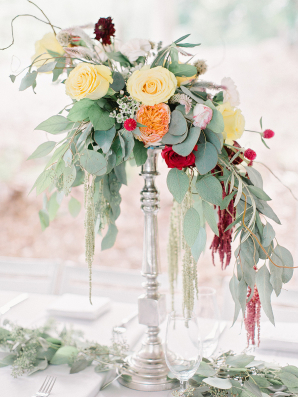 Centerpieces with Greenery and Garden Roses