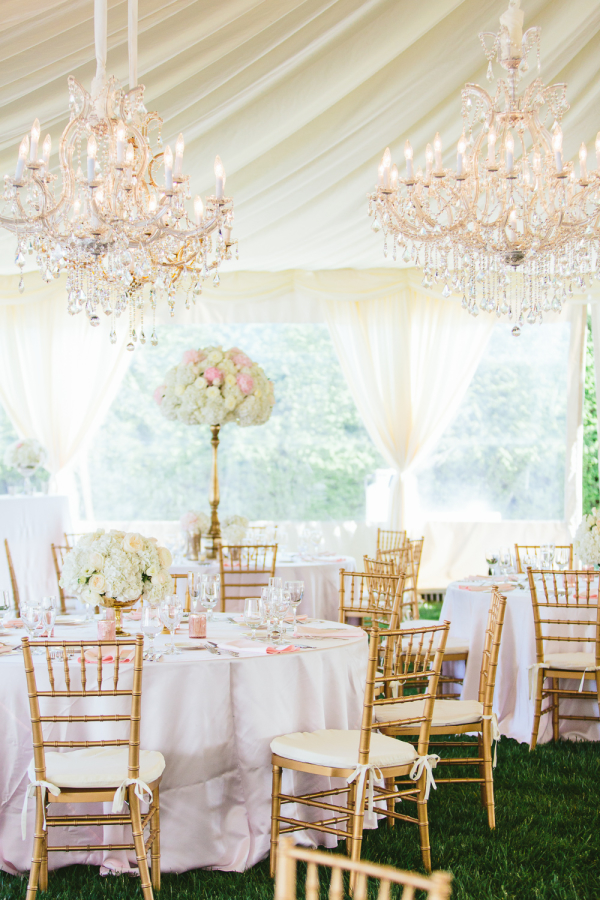Elegant Tent Reception with Chandeliers