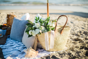 Picnic on Beach Engagement Session
