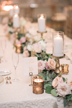 Pillar Candle and Rose Garland Centerpiece