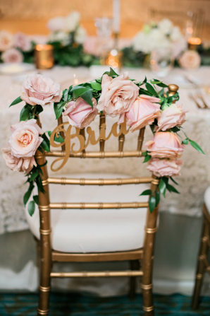 Pink Rose Chair Decoration