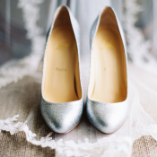 Silver Christian Louboutin Wedding Shoes