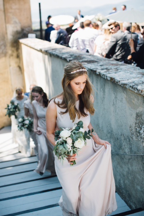 Bridesmaid in Pale Pink Gown