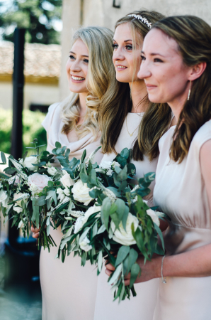 Bridesmaids with Greenery Bouquet