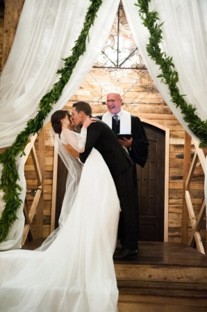 Draping and Greenery Wedding Altar