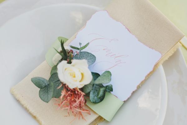 Flowers on Wedding Napkin