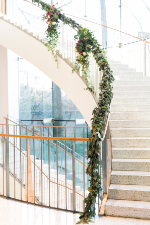 Garland on Staircase at Wedding