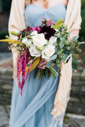Garnet Magenta and Ivory Bridesmaid Bouquet
