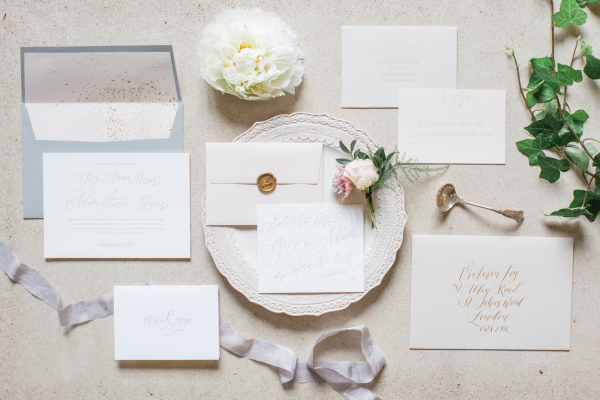 Gray Ivory and Gold Wedding Invitations
