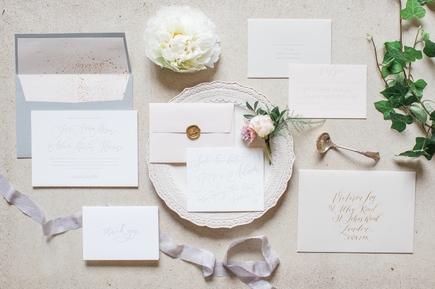 Gray Ivory and Gold Wedding Invitations - Elizabeth Anne Designs ...