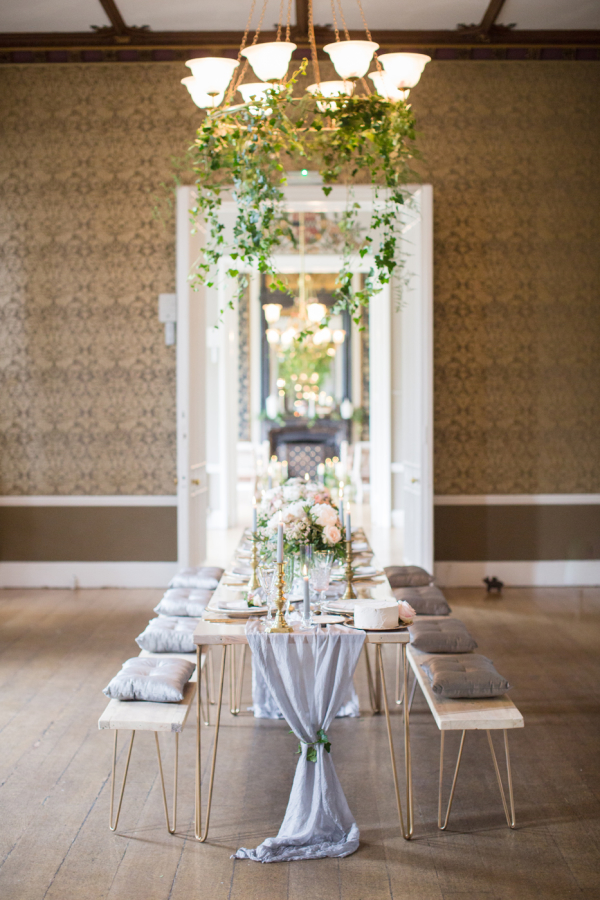 Green and Dove Gray Wedding Table