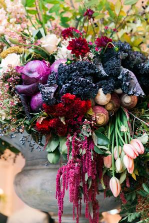 Kale Pomegranate and Turnip Wedding Flowers