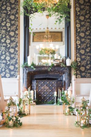 Mantel and Lanterns with Greenery