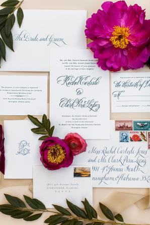 Navy Blue Letterpress Invitations