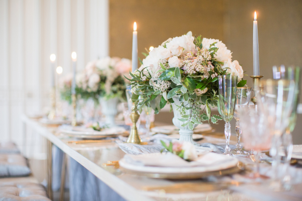 Peony Centerpiece and Taper Candles