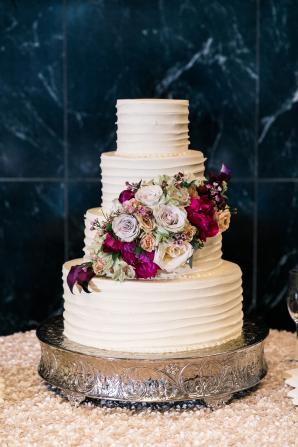 Wedding Cake with Burgundy Flowers