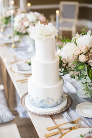Wedding Cake with Watercolor Accents
