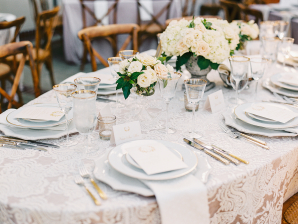 Ivory Lace Linen with Farmhouse Chairs