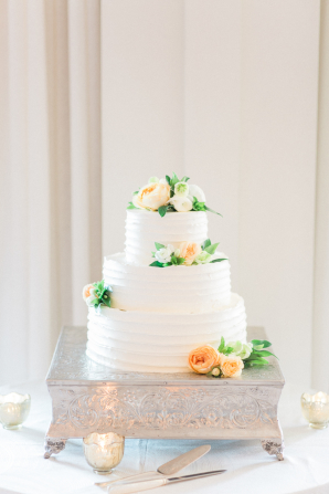 Petite Wedding Cake with Peach Flowers