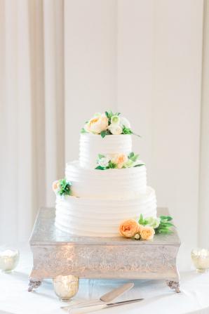 Petite Wedding Cake with Peach Flowers