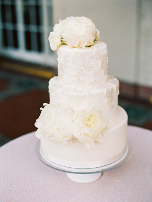 Wedding Cake with Appliques and Peonies