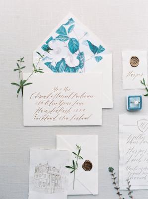 Blue and Copper Wedding Invitations