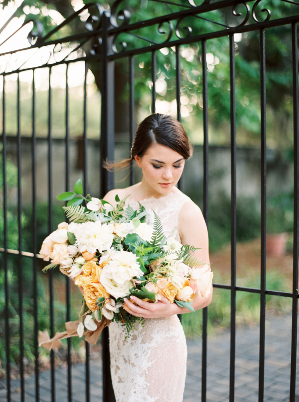 Bride with Yellow and Green Bouquet