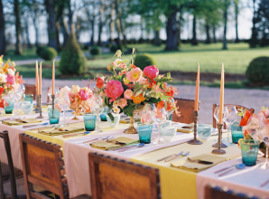 Colorful Pink and Mustard Wedding Table