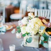 Cream and Purple Wedding Centerpiece