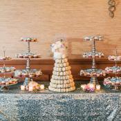 Dessert Table on Silver Sequin Linen