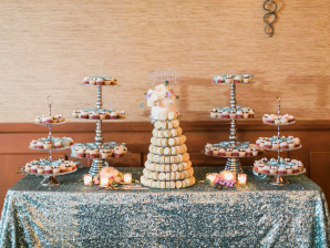 Dessert Table on Silver Sequin Linen