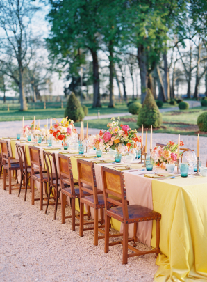 Elegant Pink and Yellow Wedding Reception