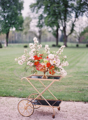 Flowers on Elegant Bar Cart