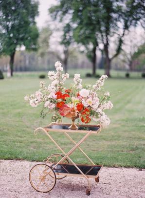 Flowers on Elegant Bar Cart