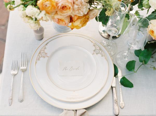 Gold and White China at Wedding
