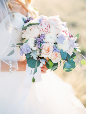 Peony Rose and Lavender Bouquet