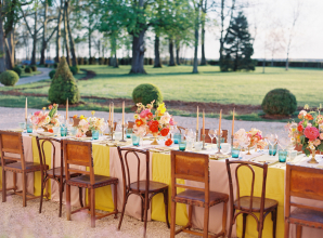 Pink and Yellow Wedding Table