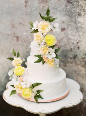Wedding Cake with Yellow Flowers
