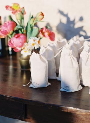 Wedding Menus on Favor Bags