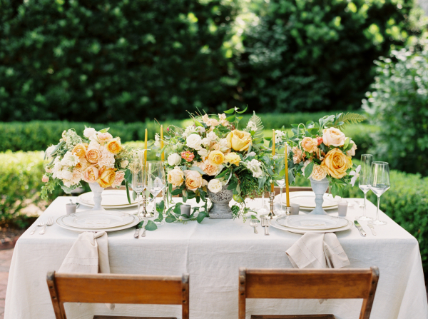 Wedding Table with Yellow Flowers