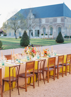 Yellow Pink and Turquoise Wedding Table